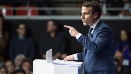 Former French Economy Minister, Founder and Leader of the political movement 'En Marche !' and candidate for the 2017 French Presidential Election Emmanuel Macron delivers a speech during his meeting on February 4, 2017 in Lyon, France.