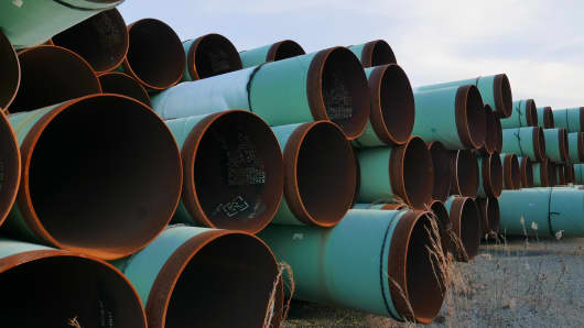Keystone XL pipeline sections in Little Rock, Ark. The pipes were manufactured by Welspun in Arkansas. The steel, however, was sourced from various countries.