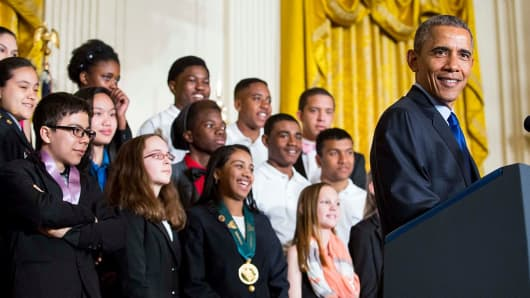 Then-President Barack Obama delivers remarks after viewing student science projects at the White House Science Fair, March 23, 2015.