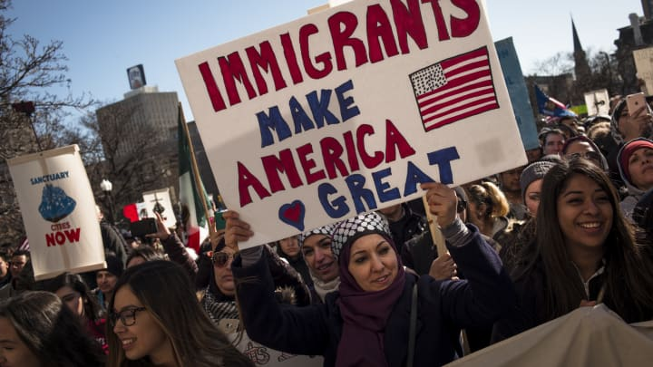 Protestors gather at the Milwaukee County Courthouse where they attend a rally against President Donald Trumps policy on immigration February 13, 2017 in Milwaukee, Wisconsin.