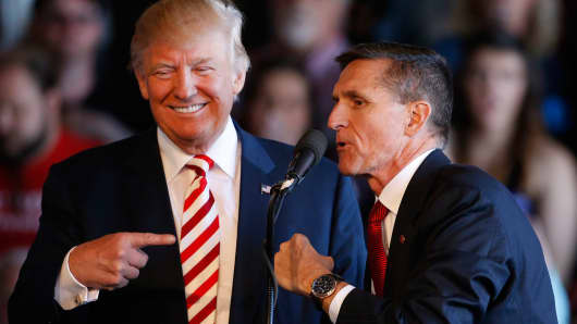 Donald Trump with Michael Flynn at a rally at Grand Junction Regional Airport on October 18, 2016 in Grand Junction Colorado.