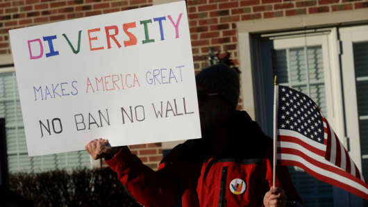 A man protests the travel and immigration ban