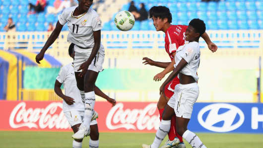 The national football teams of North Korea and Ghana at a quarter final match during the Women's 2016 FIFA World Cup in Jordan.