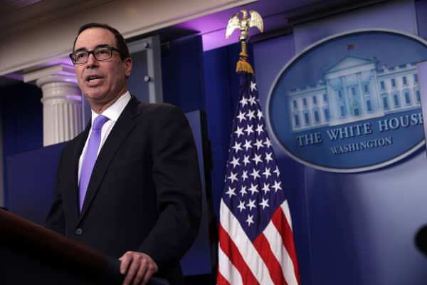 Secretary of the Treasury Steven Mnuchin speaks during the White House daily press briefing at the James Brady Press Briefing Room February 14, 2017 at the White House in Washington, DC.