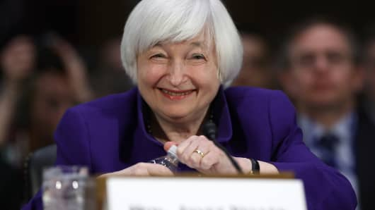 Federal Reserve Board Chairwoman Janet Yellen testifies before the Senate Banking, Housing and Urban Affairs Committee February 14, 2017 in Washington, DC.