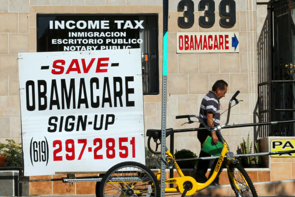 An insurance store advertises Obamacare in San Ysidro, California, U.S., January 25, 2017.