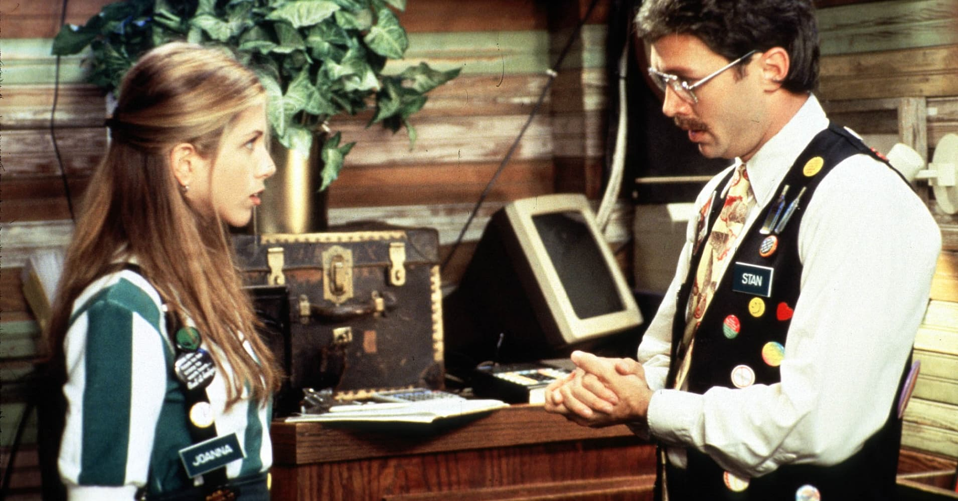 "Jennifer Aniston in a scene from Twentieth Century Fox's ""Office Space."""