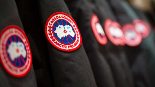 Canada Goose parkas hang on display at a store in Richmond Hill, Ontario.