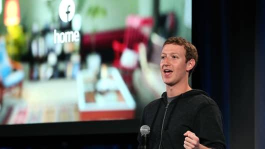 Facebook CEO Mark Zuckerberg speaks during an event at Facebook headquarters.