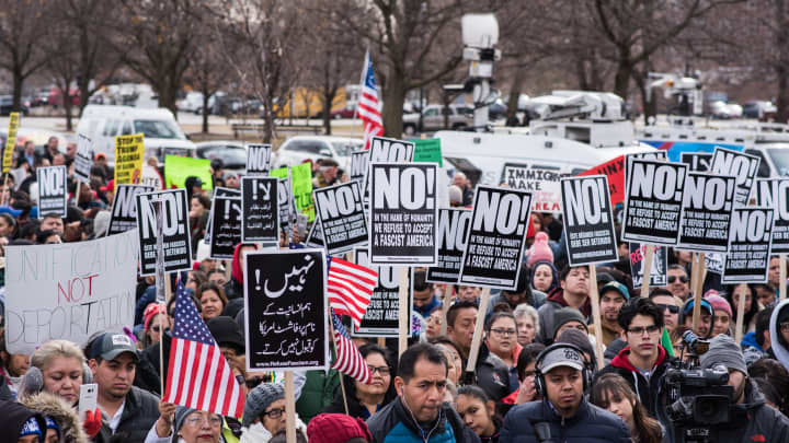 Thousands gather in Union Park for a rally and march in support of immigrant rights in Chicago on February 16, 2017.