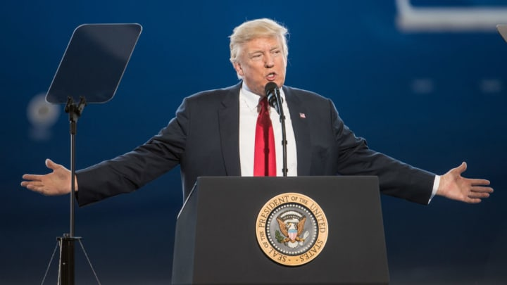 U.S. President Donald Trump addresses a crowd at Boeing's South Carolina facilities on February 17, 2017 in North Charleston, South Carolina.