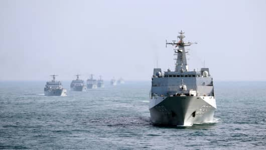 Landing ships of the People's Liberation Army Navy's South Sea Fleet in mid-February, 2017.