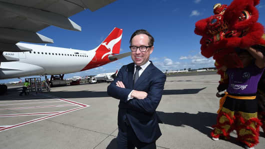 Australian airline Qantas, seen here with CEO Alan Joyce, launched daily flights between Sydney and Beijing in January 2017 for the first time since 2009 to capitalise on the increasing growth of the Australia-China travel market.