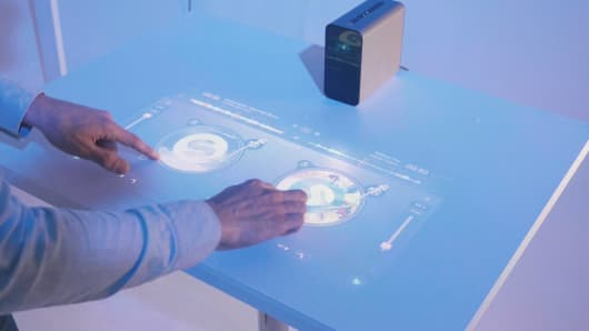 A demo of a DJ app on the Sony Xperia Touch projector.