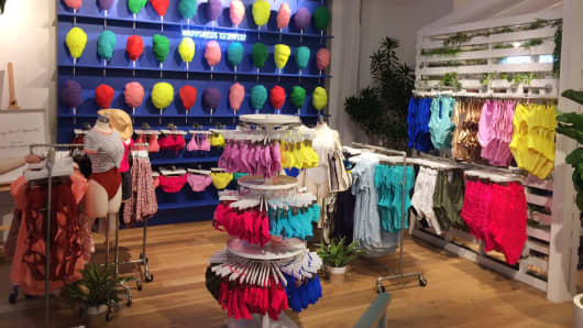 Aerie's swimwear selection at its SoHo pop-up store.