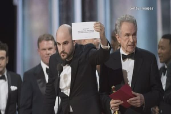 Big drama on stage at the Oscars
