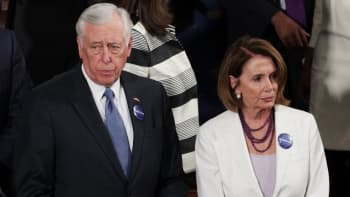 Rep Steny Hoyer (D-MD) and House Minority Leader Nancy Pelosi (D-CA) arrive to a joint session of the U.S. Congress with U.S. President Donald Trump on February 28, 2017 in the House chamber of the U.S. Capitol in Washington, DC.