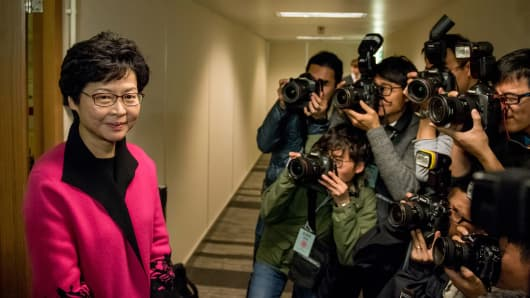 Carrie Lam, Hong Kong's former chief secretary and candidate for the city's top job of Chief Executive