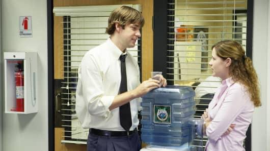 John Krasinski as Jim Halpert, Jenna Fischer as Pam Beesly on 'The Office.'