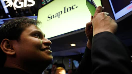 Snapchat soars again on second day of trading
