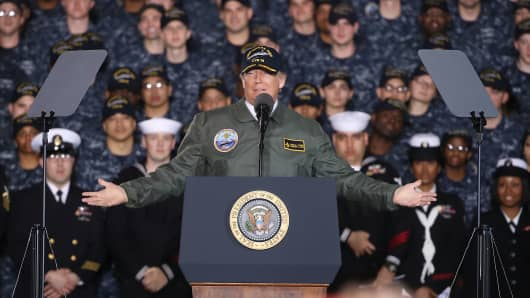 President Donald Trump speaks to members of the U.S. Navy and shipyard workers on board the USS Gerald R. Ford CVN 78 that is being built at Newport News shipbuilding, on March 2, 2017 in Newport News, Virginia.