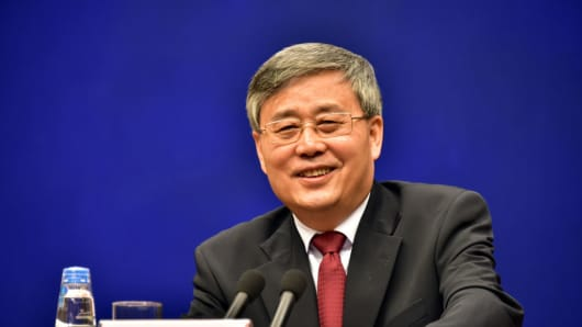 Guo Shuqing, chairman of the China Banking Regulatory Commission, attends a press conference at the State Council Information Office on March 2, 2017 in Beijing, China.