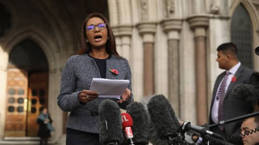 Gina Miller speaks after the High Court decides that the Prime Minister cannot trigger Brexit without the approval of the MP's at The Royal Courts Of Justice on November 3, 2016