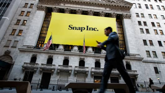 Signage for Snap Inc., parent company of Snapchat, adorns the front of the New York Stock Exchange, March 2, 2017 in New York City.