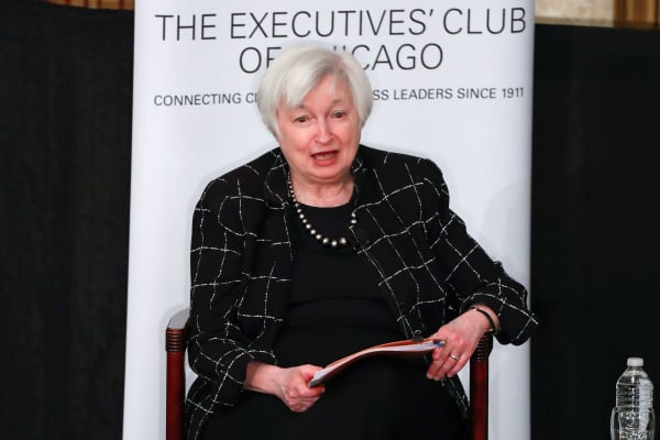 Federal Reserve Chair Janet Yellen addresses the Executives Club of Chicago in Chicago, Illinois, U.S., March 3, 2017.