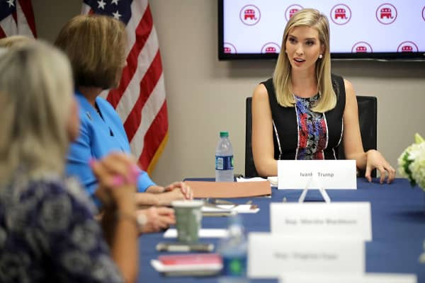 Ivanka Trump, daughter of Republican presidential nominee Donald Trump, visits with women GOP members of Congress at the Republican National Committee headquarters on Capitol Hill September 20, 2016 in Washington, DC. In an effort to reach out to women voters, Trump met with the female politicians to promote her father's proposals on child care.