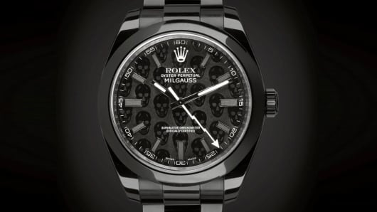 A chemical reaction ultimately turns the metal ebony, giving the watch similar properties to that of a diamond.