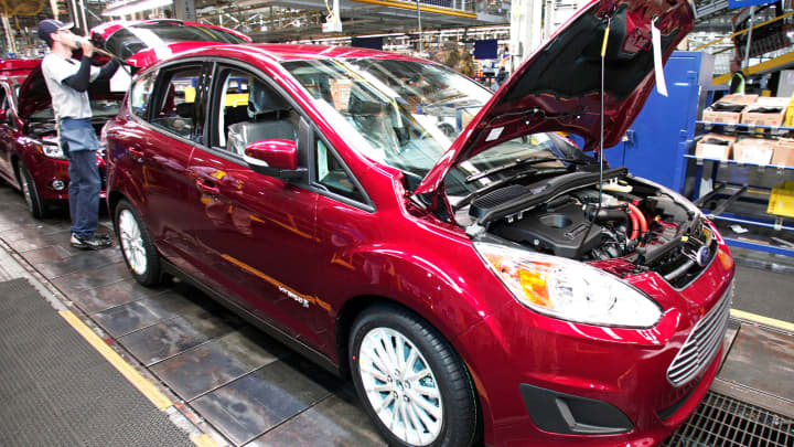 This is a file photo of a Ford hybrid vehicle on the assembly line in Wayne, Michigan.