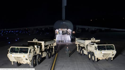 Terminal High-Altitude Area Defense (THAAD) missile defense system after arriving in South Korea on March 6. The U.S. military deployed the system in response to North Korean missile threats.