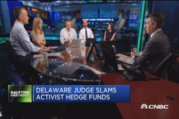 Delaware judge slams activist hedge funds