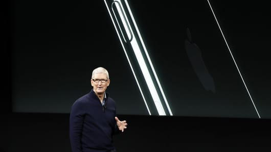 pple CEO Tim Cook speaks during a product launch event on October 27, 2016 in Cupertino, California.