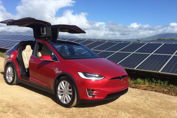 Tesla Model X at a solar farm in Kauai, Hawaii