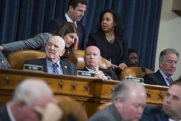 From left, Rep. Sam Johnson, R-Texas, Chairman Kevin Brady, R-Texas, and Ranking Member Richard Neal, D-Mass., conduct a House Ways and Means Committee markup in Longworth Building regarding the bill to repeal and replace the the Affordable Care Act, March 8, 2017.