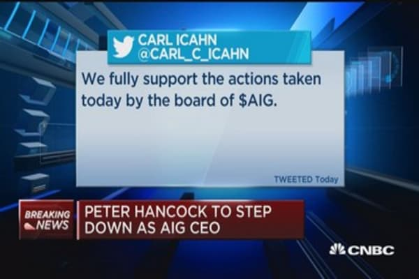 Peter Hancock to step down as AIG CEO