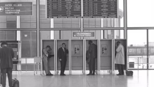 Payphones in O'Hare International Airport, circa 1963.