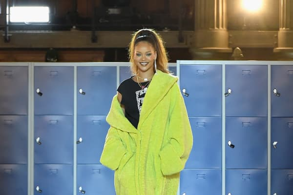 Rihanna at the launch of her Autumn Winter 2017 Fenty collection for Puma, at Paris Fashion Week in March 2017