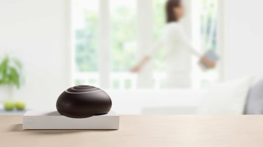 The Dojo is a pebble-sized device that connects to a Wi-Fi router and detects any threats.