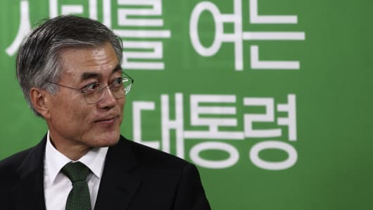 Moon Jae-in, former leader of the Democratic Party and front-runner for the 2017 presidential election. He previously ran for the country's top job during the 2012 election but conceded the race to Park Geun Hye.
