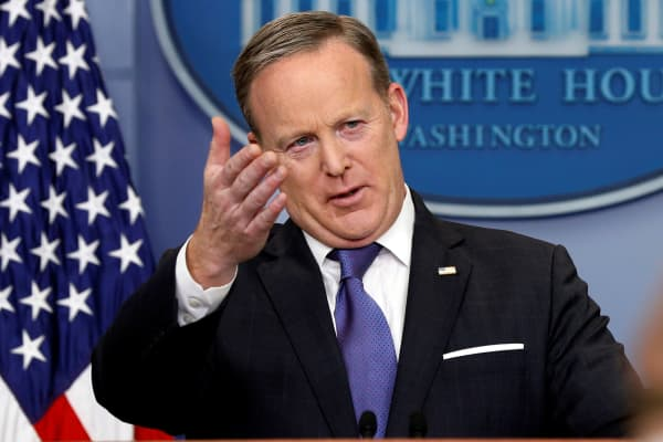 White House spokesman Sean Spicer holds a briefing at the White House in Washington.