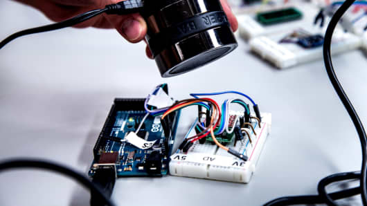 A speaker can make tones that fool a sensor and cause a microprocessor to accept the sensor readings.
