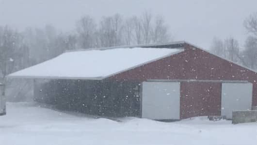 Farmhouse in Broome County, New York after the huge nor'easter storm.