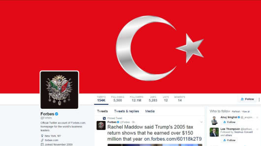 Twitter Accounts Hacked With Pro-Turkey Messages