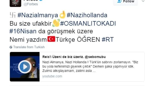 Related Twitter accounts hijacked in Turkish with swastikas posted