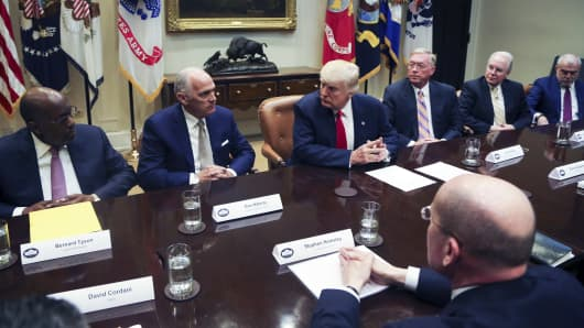 President Donald Trump leads a listening session with health insurance company CEO's in the Roosevelt Room of the White House, February 27, 2017 in Washington, DC. Trump vowed to fix the problems with the Affordable Care Act.