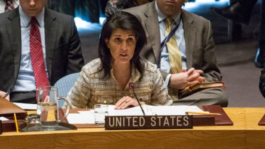 U.S. United Nations Ambassador Nikki Haley speaks at the Security Council meeting on February 21, 2017 at UN Headquarters in New York.