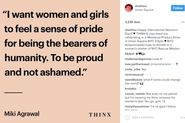 Image from the THINX Instagram feed
